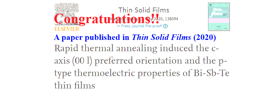 Congratulations!! A paper published in Thin Solid Films