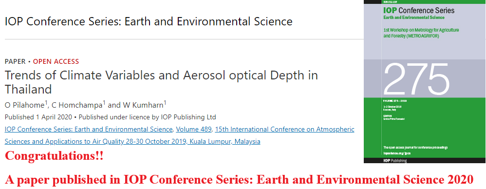 Congratulations!! A paper published in IOP Conference Series: Earth and Environmental Science 2020