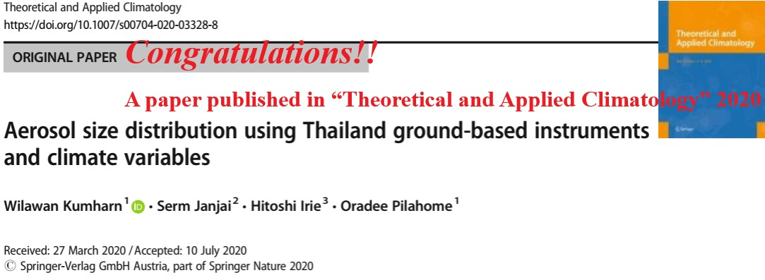 "Congratulations!!<br />A paper published in ""Theoretical and Applied Climatology"" 2020"